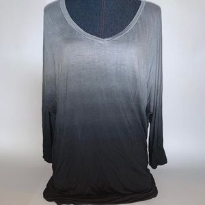 Lock & Love Gray and Black Ombré V-neck Tunic